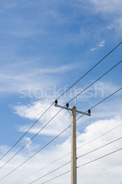 Electricity post and blue sky Stock photo © sweetcrisis