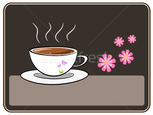 кофе цветок иллюстрация символ перерыва время Сток-фото © sweetcrisis