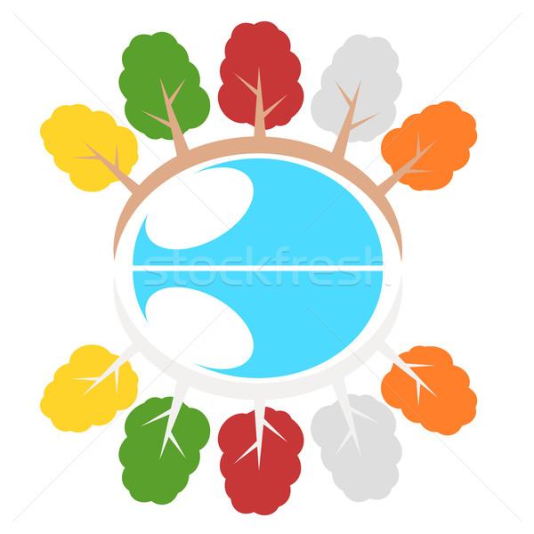 природы дерево символ иллюстрация экология Мир Сток-фото © sweetcrisis
