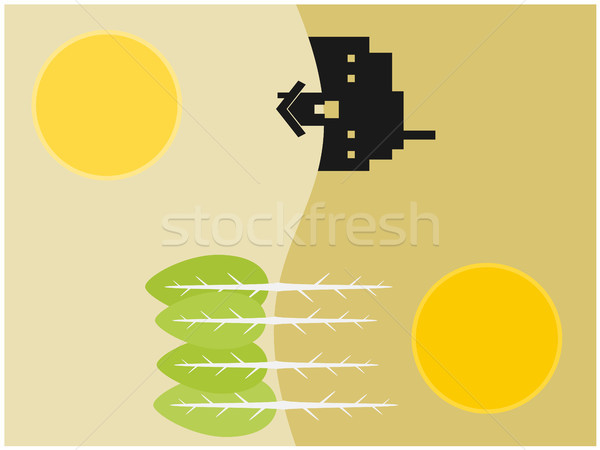 Home and forest home and industry illustration Stock photo © sweetcrisis