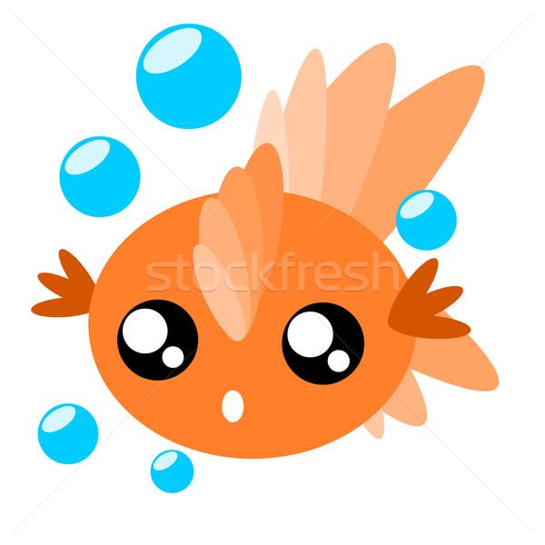 Cartoon Goldfish illustrazione gocce d'acqua cute pesce Foto d'archivio © sweetcrisis