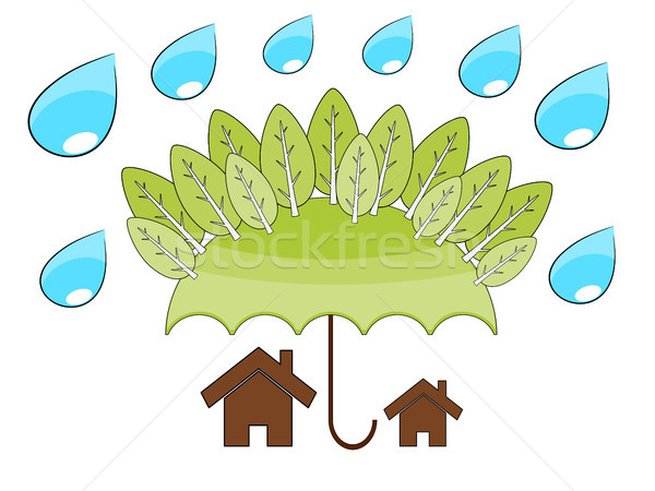 Tree protect home illustrattion Stock photo © sweetcrisis
