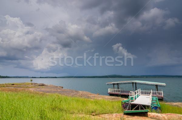 Wody niebo zbiornik wiosną charakter niebieski Zdjęcia stock © sweetcrisis