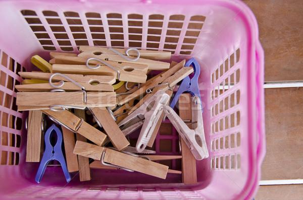 Prendedor de roupa casa ferramenta pano fundo cesta Foto stock © sweetcrisis