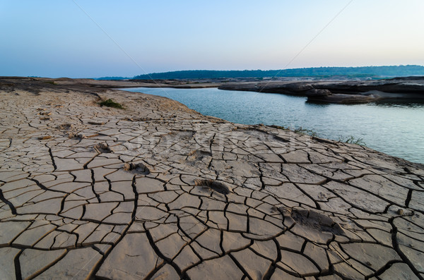 cracked soil and pond in Sampanbok ,in Mekong River Stock photo © sweetcrisis