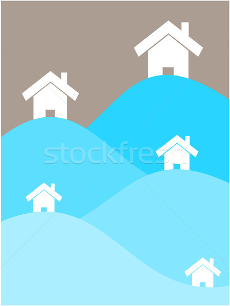 Home water illustratie wereld tsunami Stockfoto © sweetcrisis