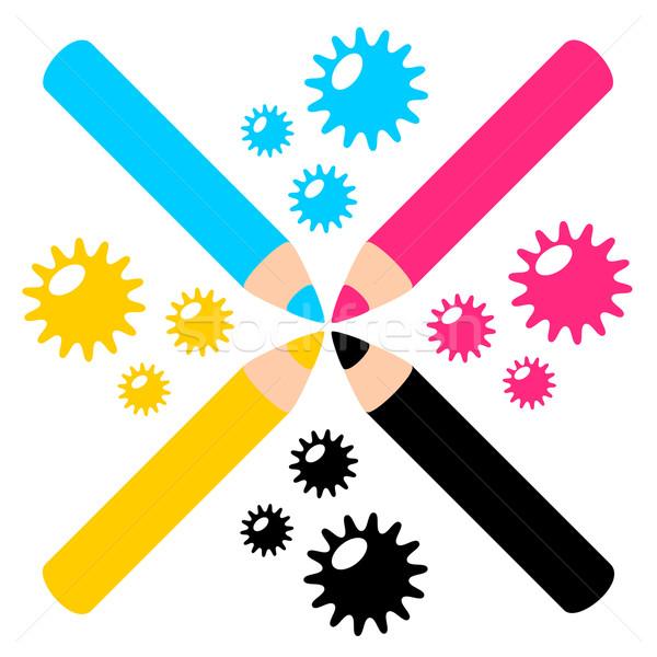 Szín színesceruza illusztráció profil színes Stock fotó © sweetcrisis