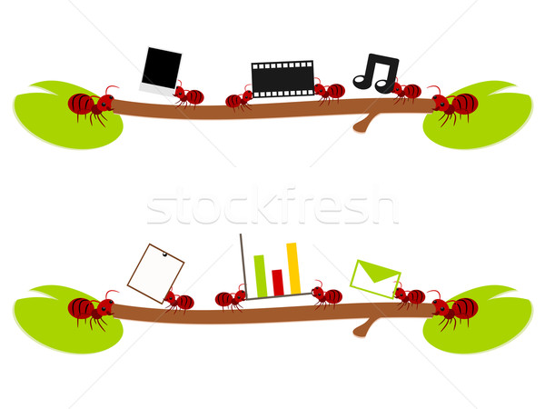 Red ants entertainment and work illustration Foto stock © sweetcrisis