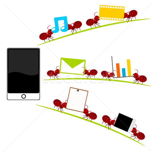 Um vermelho formigas ilustração Foto stock © sweetcrisis