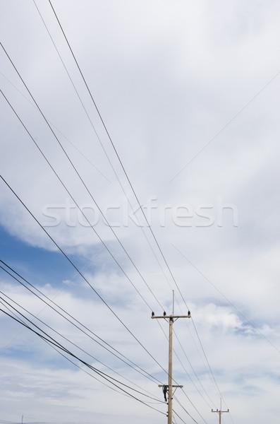 Elektrik gönderemezsiniz mavi gökyüzü Tayland inşaat güç Stok fotoğraf © sweetcrisis