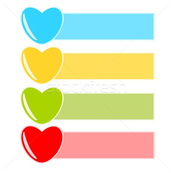 Miłości notatka papieru zielone niebieski czerwony Zdjęcia stock © sweetcrisis