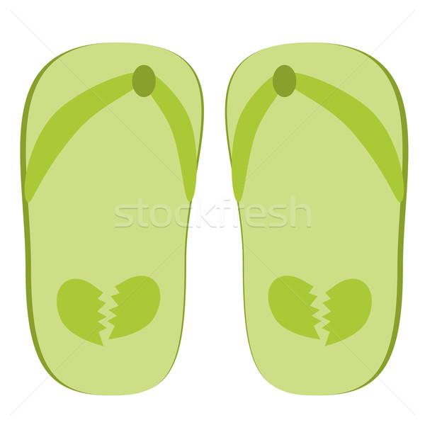 Zielone kapcie ilustracja złamane serce miłości Zdjęcia stock © sweetcrisis
