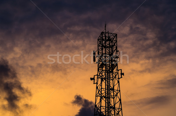sillouette communications Tower and sky Stock photo © sweetcrisis