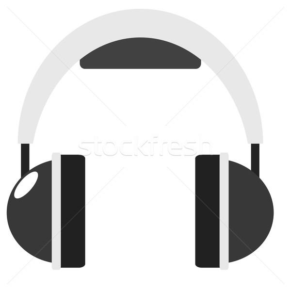 Fejhallgató illusztráció ikon hang audio absztrakt Stock fotó © sweetcrisis