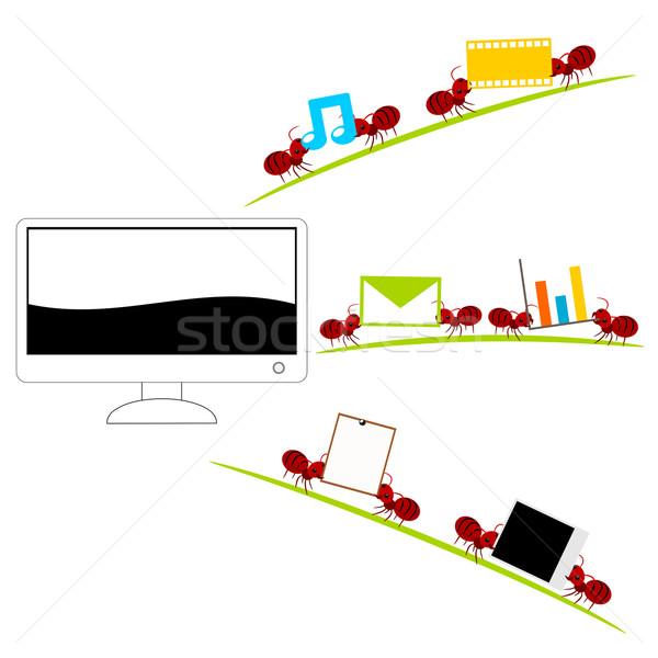 Um computador vermelho formigas ilustração Foto stock © sweetcrisis