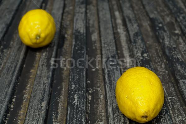 Surowy czarny tle cytryny kopia przestrzeń Zdjęcia stock © szabiphotography