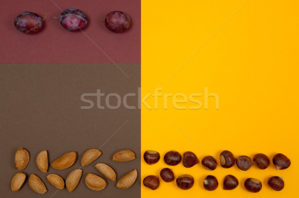 Hard shell nuts and plums on split background Stock photo © szabiphotography