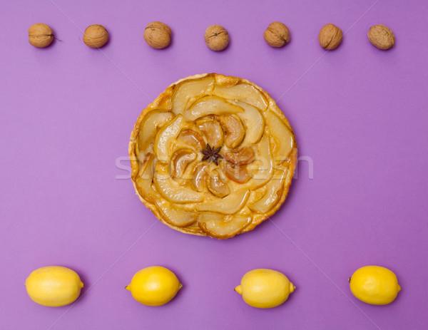 Elma armut pasta meyve mor bütün Stok fotoğraf © szabiphotography