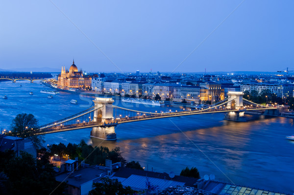 Budapeşte görmek zincir köprü parlamento Bina Stok fotoğraf © szabiphotography