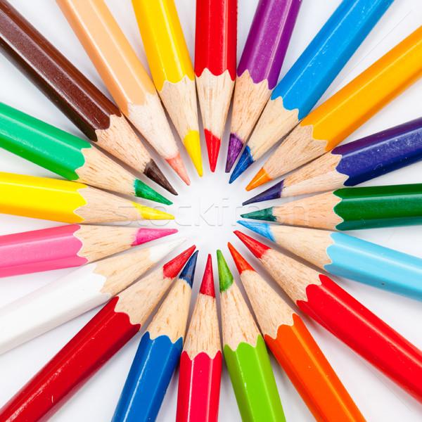 Kolor ołówki odizolowany biały wzór Zdjęcia stock © szabiphotography