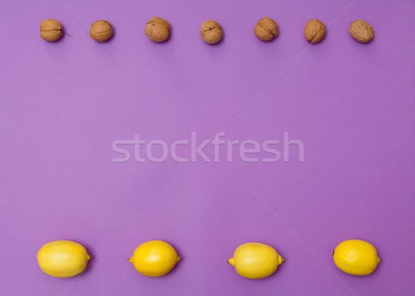 Orzechy cytryny fioletowy kopia przestrzeń Zdjęcia stock © szabiphotography