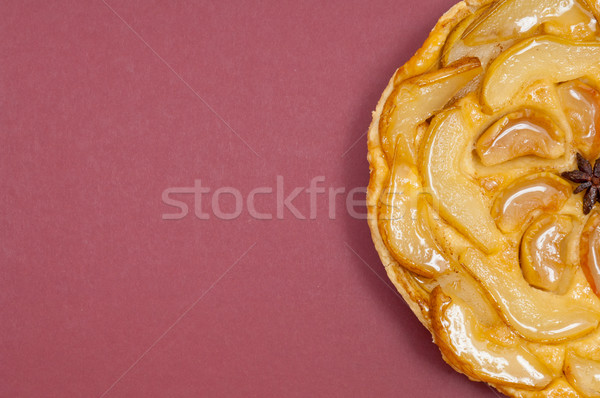 Tarte Tatin apple pear tart isolated on claret background Stock photo © szabiphotography