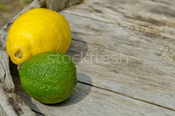 Ahşap arka plan limon kireç Stok fotoğraf © szabiphotography