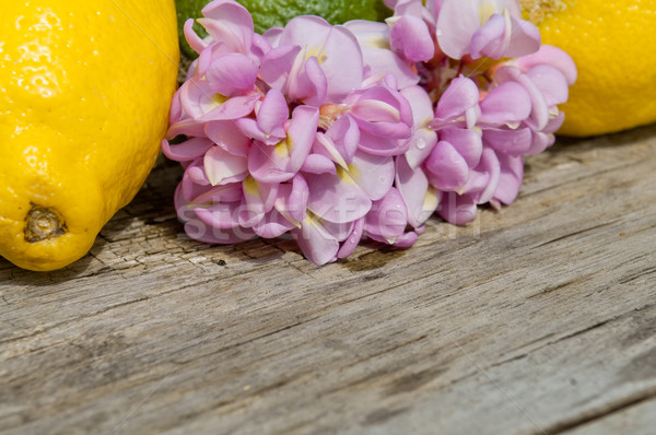 Raw textured wood Background backdrop with lemon and robinia flower  Stock photo © szabiphotography