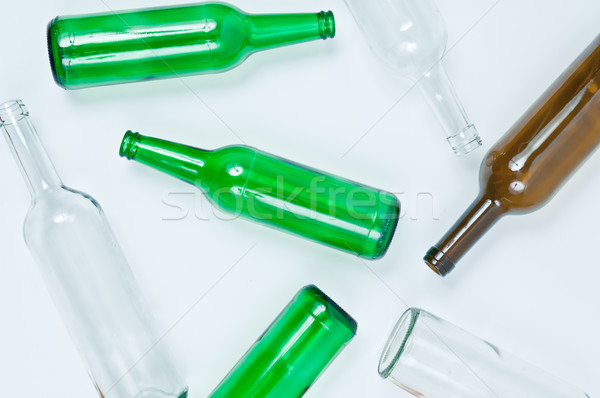 Glass bottles of mixed colors including green, clear white, brow Stock photo © szabiphotography