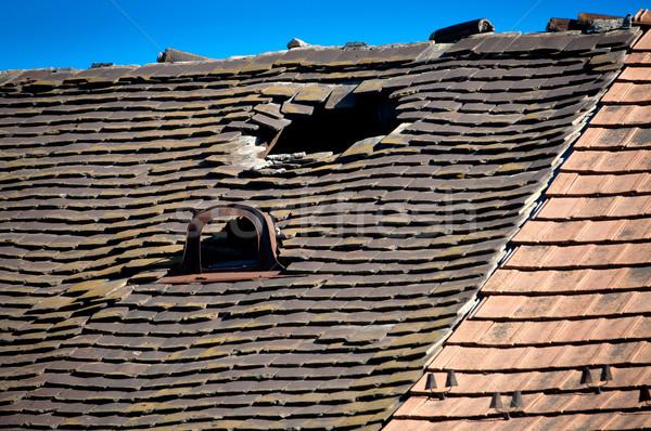 Eski kiremitli çatı delik kırık Stok fotoğraf © szabiphotography
