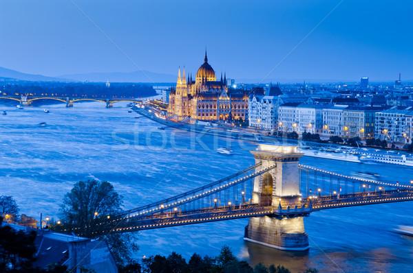 Budapest városkép kilátás lánc híd parlament Stock fotó © szabiphotography