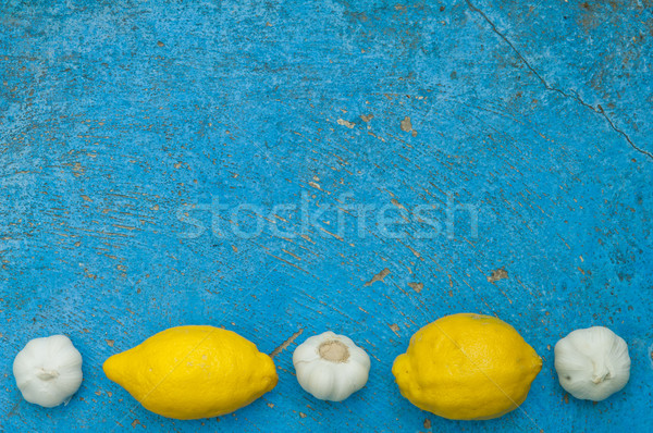 Eski açık mavi limon sarımsak turkuaz Stok fotoğraf © szabiphotography