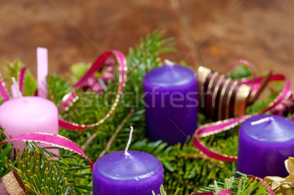 Karácsony koszorú advent copy space fából készült tél Stock fotó © szabiphotography