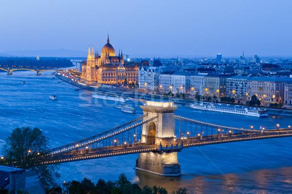 Stock fotó: Kilátás · Budapest · város · Magyarország · lánc · híd