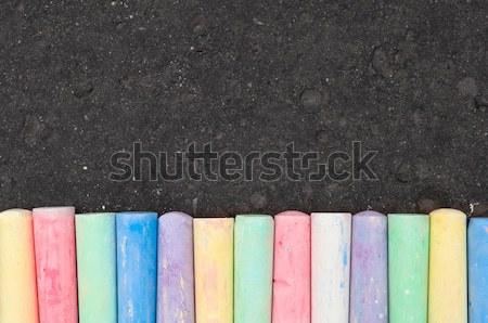 Színes pasztell járda kréta sötét aszfalt Stock fotó © szabiphotography
