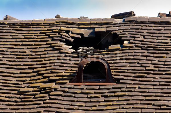 Foto d'archivio: Vecchio · piastrellato · tetto · buco · rotto