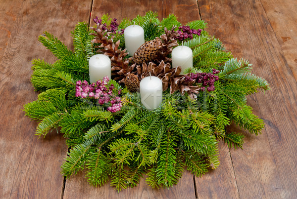 Weihnachten Kranz Aufkommen Kopie Raum Holz rot Stock foto © szabiphotography