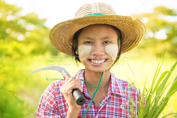 Pretty Burmese farmer Stock photo © szefei