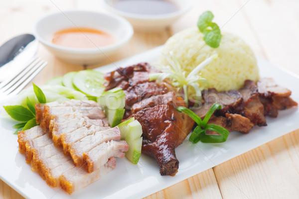 Roasted duck, roasted pork crispy siu yuk and Charsiu Chinese st Stock photo © szefei