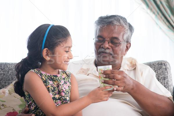 Víz idősebb portré indiai családi otthon unoka Stock fotó © szefei