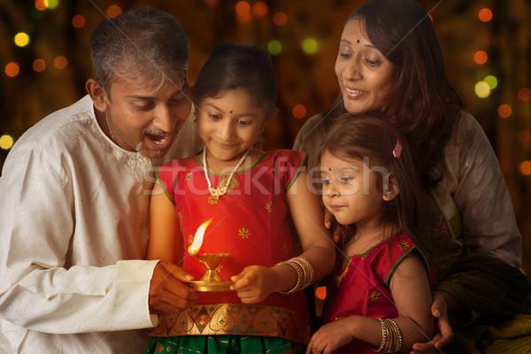 祝う ディワリ インド 家族 伝統的な 照明 ストックフォト © szefei