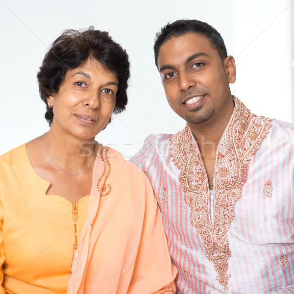 Indian famille mère fils portrait heureux Photo stock © szefei