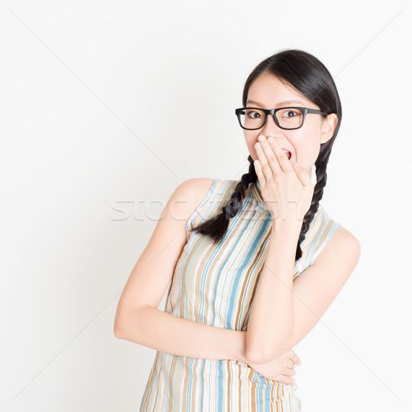 ázsiai nő nevetés befogja száját portré fiatal Stock fotó © szefei