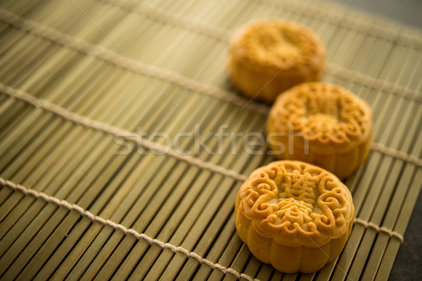 Moon cakes on bamboo mat with copy space Stock photo © szefei