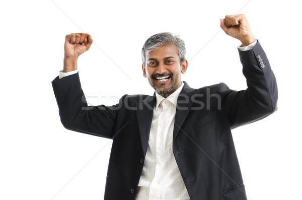 Győzelem portré izgatott ázsiai indiai üzletember Stock fotó © szefei
