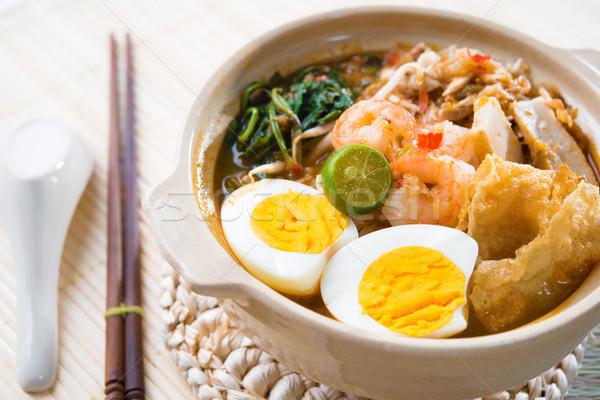 Szingapúr garnéla tészta híres szingapúri étel Stock fotó © szefei