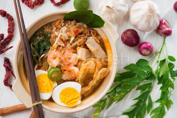 Szingapúri garnéla tészta híres Szingapúr étel Stock fotó © szefei