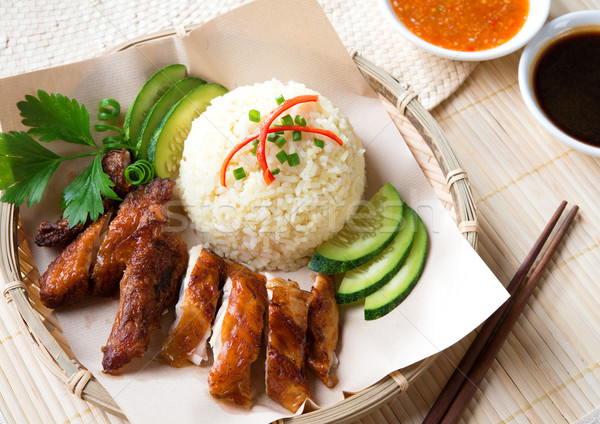 Delicious Singapore chicken rice.  Stock photo © szefei