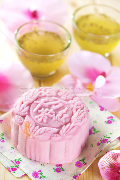 Pink noble delight mooncake Stock photo © szefei