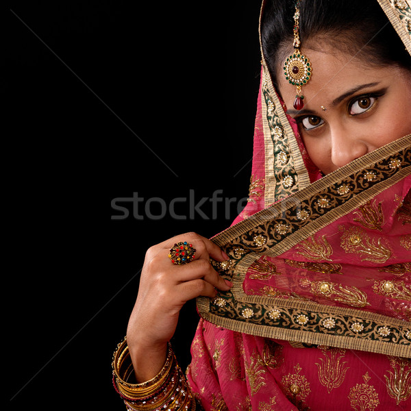 Mystery young Indian female Stock photo © szefei